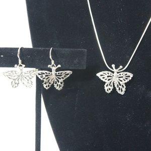 Jewelry - Set Sterling Silver Butterfly Necklace & Earrings